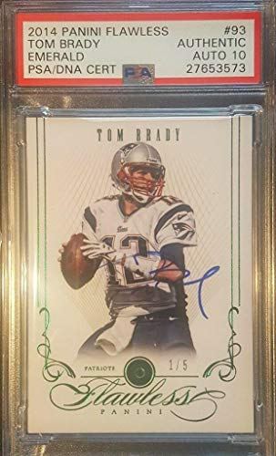 (Tom Brady 2014 Panini Flawless Autographed Emerald Gem Signed AUTO 1/1 - PSA/DNA Certified - Football Slabbed Autographed Cards)