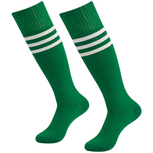 Soccer Socks Green,3street Unisex Youth Thick Cushion Knee High Sport Athletic Soccer Team Tube Socks Green 2-Pairs,7-13 (Green Coverage Sports)