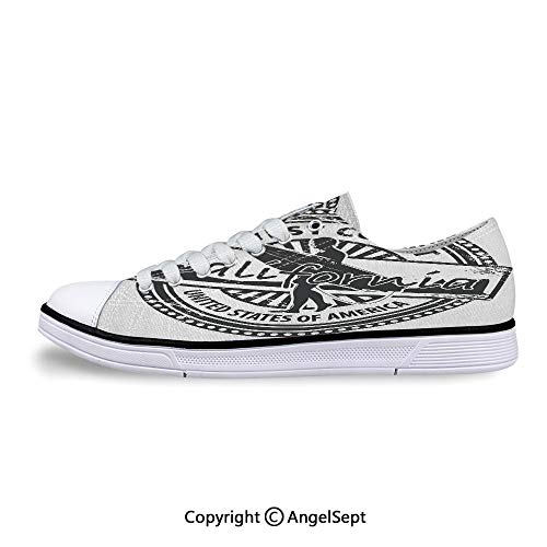 Unisex Canvas Lace-up Low Top Flat Shoes United States of America Grunge -