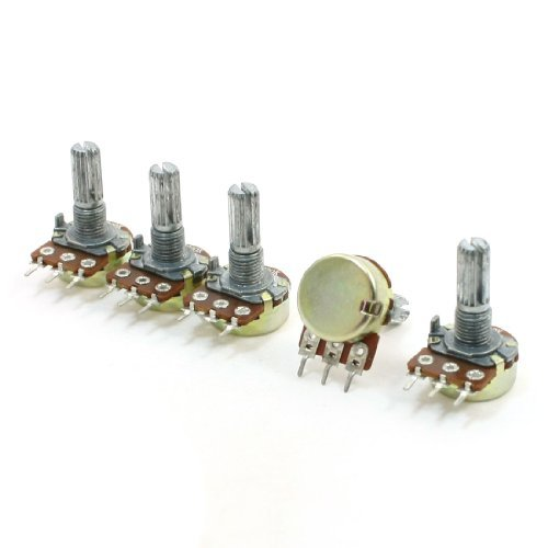 5pcs 200 K ohm 3 Pins Pots 6 mm Split Shaft Single Gang Potentiometer DealMux