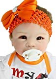 Gbell 22 Inch Realistic Reborn Doll Girl with Clothes & Pacifier,Adorable Silicone Pretend Play Doll,Soft Newborn DollBirthday Gifts Toy for Little Toddlers Girls Kids 2+ (Multicolor)