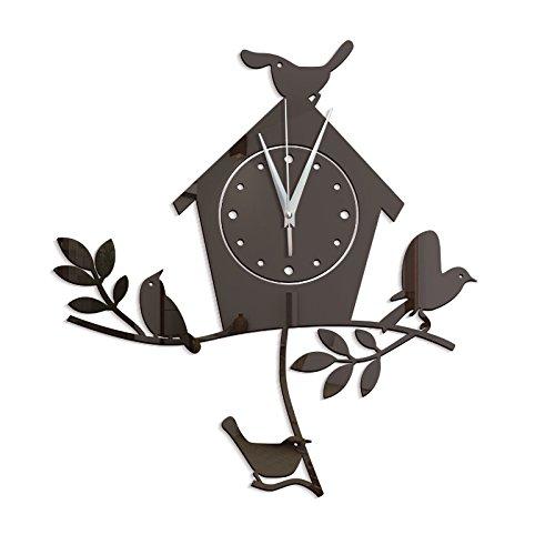 New Hot Novelty Mascot Bird Wall Clock 3D DIY Wall Sticker Cartoon Bird Style Vinyl Real Clocks Home Decor Children Gift 60046 Black