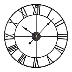 Haoun Wall Clock,16 Inch Retro Metal Wall Clock Silent Large Decorative Clock for Home Office- Black