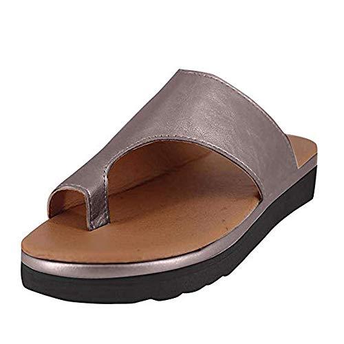 Women Summer Wedges Platform Sandals Stylish Thong Flip Flops Ultra Comfort Slippers Toe Loop Flat Sandals Bronze