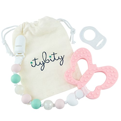 Pacifier Clip Girl, BPA Free Silicone Teether, Butterfly Teething Toy (Pink/Mint) (Kids Petal Cars)