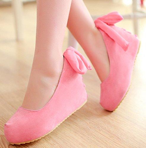 IDIFU Womens Sweet Slip On Shoes Heighten High Heel Wedge Platform Pumps With Bow Pink gbgtj7geCF