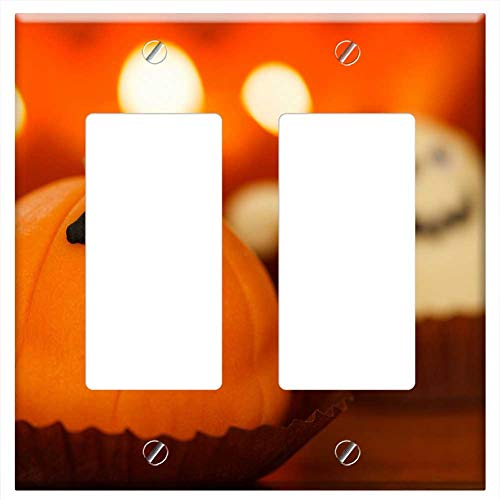 (Switch Plate Double Rocker/GFCI - Sweet Food Halloween Dessert Holiday Orange Treat 1)