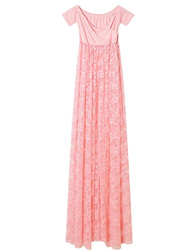 Womens Maxi Lace Dress Off Shoulder V Neck Maternity Photography Gown Split Front Pink S
