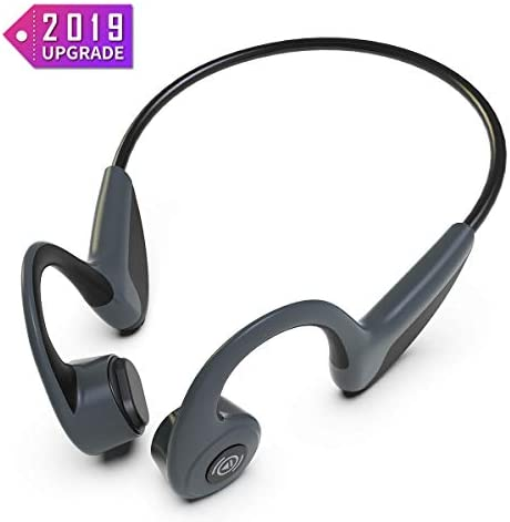 Sandoo Bone Conduction Headphones Bluetooth 5.0 Open-ear Wireless Earbuds Lightweight Headphones,Sweat Proof Comfortable Sports Earphones with Mic for Running, Cycling, Hiking, Driving, Workout -L
