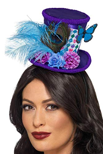 Smiffys 48887 Mad Hatter Mini Feather Hat, Women, Purple -