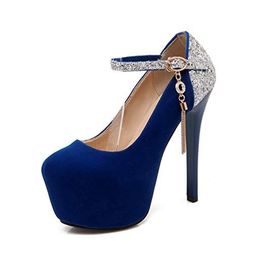 Mode Talons Chaussures Super Pompes mariée Haut Femmes Sexy Bleu Chaussures Mariage JRenok de Parti Hzw7q