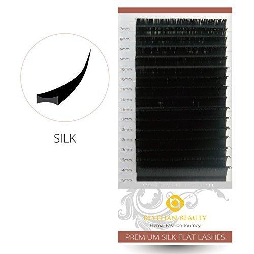 BEYELIAN Beauty Flat Eyelash Extensions Premium Silk Ellipse Flat Lash Extension Classic Setting Natural Soft Lightweight C Curl 0.15mm Mixed Tray 7-15mm Assorted