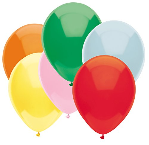 (PartyMate 87117 Made in the USA Standard Color 5-Inch Latex Balloons, 50-Count, Assortment)