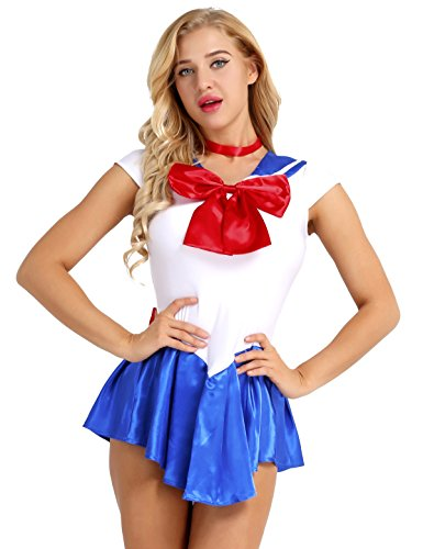 Freebily Women's Sailor School Girls Bowknots Costume Fancy Dress Halloween Cosplay Outfit Blue Medium ()