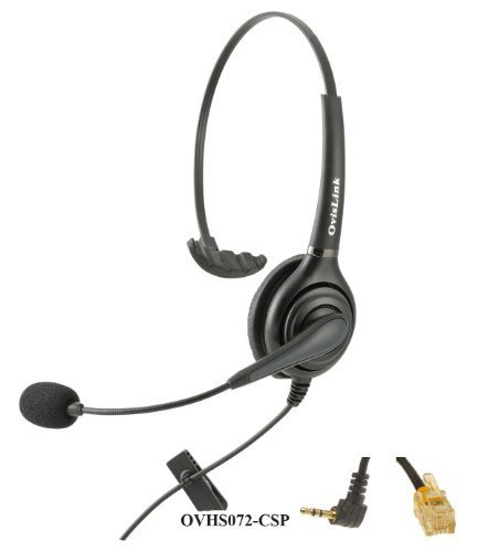 Cisco IP Phones Compatible Call Center Headset with Noise Cancellation and Quick Disconnect Cords -