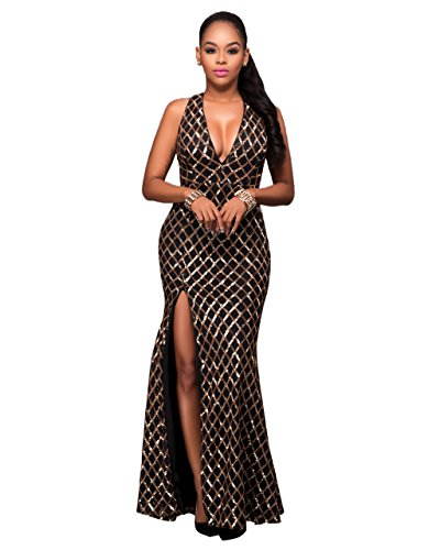 Olaron Women Elegant Sequin Deep V Neck Key Hole Back Split Side Evening Gown Maxi Dress Black Large