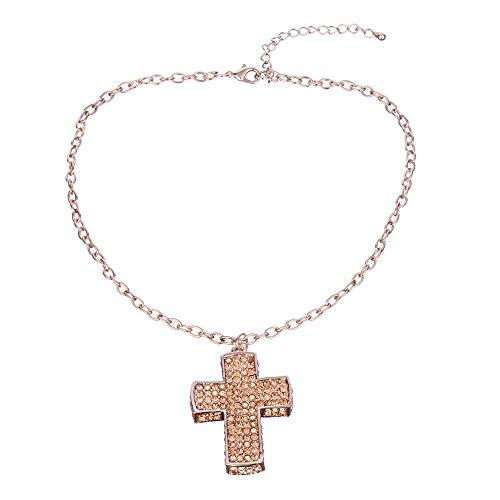 3D Cross Pendant Necklace Alloy Rhinestone Religious Costume Jewelry (Rose (Cross Necklaces Religious Jewelry)