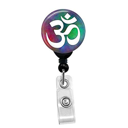 Om Aum Yoga White On Plasma Custom Retractable Clip On Ba...