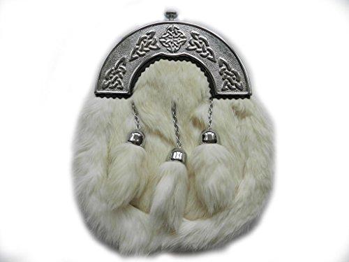UT Kilts Formal White Fur Sporran Scottish Kilt (White)