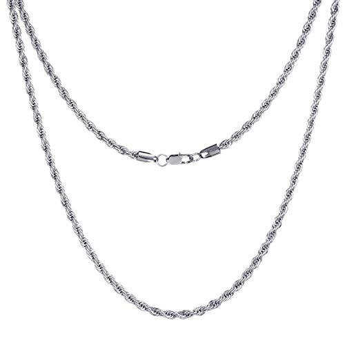FEEL STYLE 4mm Stainless Steel Chain Necklace for Men Women Twist Rope Italian Jewelry, 20 Inch
