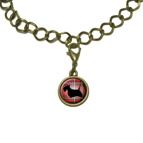 (Scottie Dog on Red Plaid Scottish Terrier Charm with Chain Bracelet)