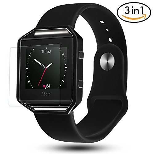 Fitbit Blaze Bands 3 in 1 Watch Wristband Strap Soft Silicone Replacement Protective Case Frame with Screen Protector Smart Fitness Watch Bracelet for Men Women - Band Wristband
