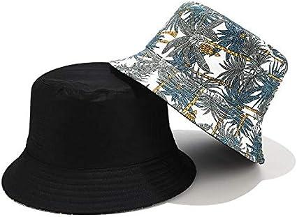 Drawihi Tropical Banana Tree Pattern Print Bucket Hat Double Sided Wear Fisherman Hat Foldable Flat Top Cotton Visor for Women