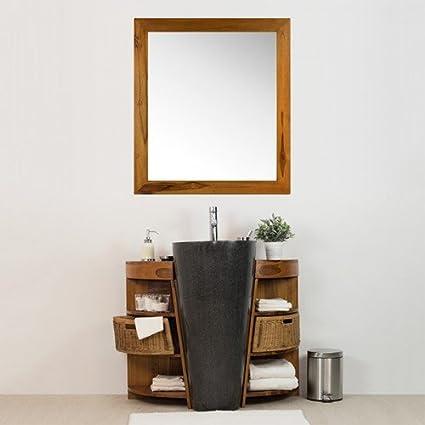 Salle de Bain en Teck Keops Simple Vasque et Son Miroir Teck ...