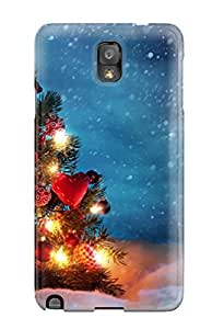 Galaxy Note 3 Case Slim [ultra Fit] Christmas Tree Outside Snow Night Decoration Lights Xmas Santa Claus Holiday Christmas Protective Case Cover