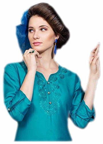 Jayayamala Frauen Silk Cotton Tunika Ausschnitt bestickt Tunika Kleid Mode-Knopf