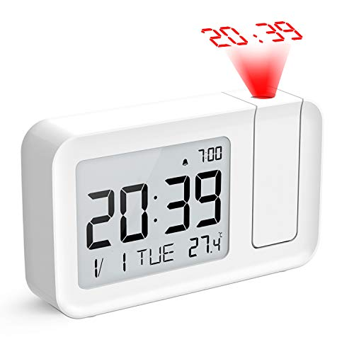 Projection Alarm Clock,Hosome Digital Alarm Clock on Ceiling with Indoor Temperature Display 3.8