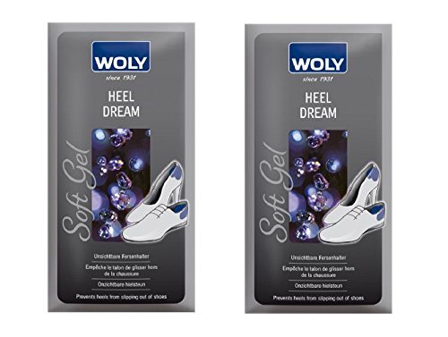 2 Pack Woly Heel Grips, Prevents Slipping & Blistering in Shoes. Made in (Combi Stick)