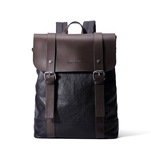 Vintage Genuine Leather Backpack Messenger bag Laptop School College Bookback Unisex (Brown)