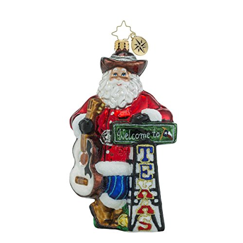 Western Santa Ornament (Christopher Radko Howdy Y'all Texas Themed Santa Glass Christmas Ornament - 6