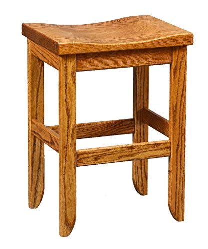 Oak Saddle Top Stool - Bar Height - Amish Made in USA