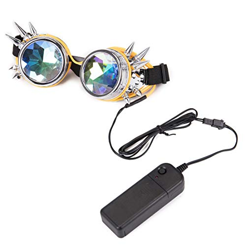 Festivals Glasses Kaleiscope Sunglasses Steampunk Goggles with Remote Control LED Flashlight -