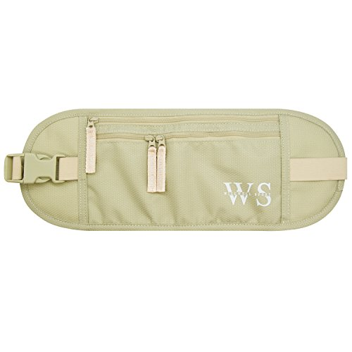 WILLWELL SPORT Money Belt Hidden Security Pouch Waterproof & Lightweight Bumbag - for Adults & Kids - RFID Fabric - for Your Conceal Valuable (Beige)