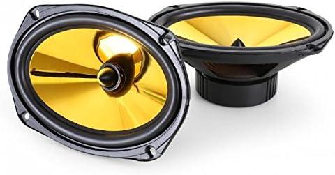 auna Goldblaster 5 Altavoces HiFi para Coche - Par con coaxial de 3 vías , Potencia: 2X 500 W , Tweeter de neodimio , Bobina ASV , Presión Sonora: 89 dB , Frecuencia: 100-20000 Hz , Negro Dorado