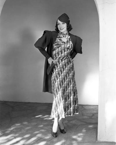 Lupe Velez cute in striped print dress hat hands on hips under arch 8x10 HD Aluminum Wall Art