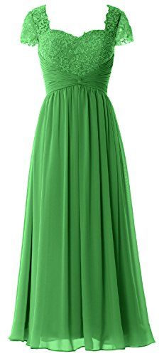 Mother Bride Lace Green Women Chiffon Cap Gown Sleeves Formal Evening of MACloth Dress Bq8OvwHFv