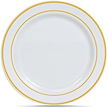 """""""Select Settings"""" 50 (7.5 Inch) White with Gold Rim Plastic Disposable Salad/Dessert Plates"""