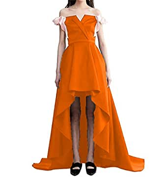 Dydsz Women's Long Prom Party Dresses Hi-Lo Formal Gowns Off Shoulder Bowknot D260 Orange 24 Plus