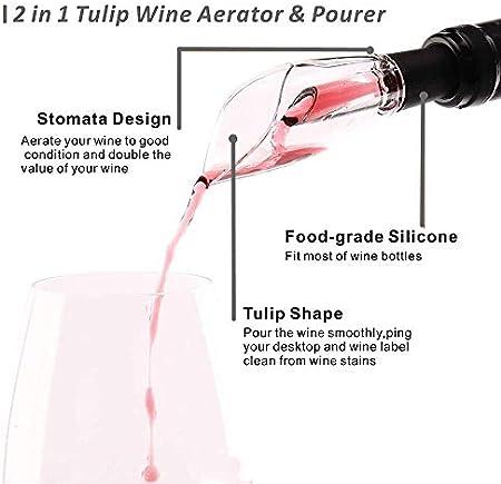 Piegricdiat - Juego de abrebotellas eléctrico, sacacorchos automático, juego de regalo con cortador de hojas, tapón para vino y vertedor, juego de vino 5 en 1 para casa