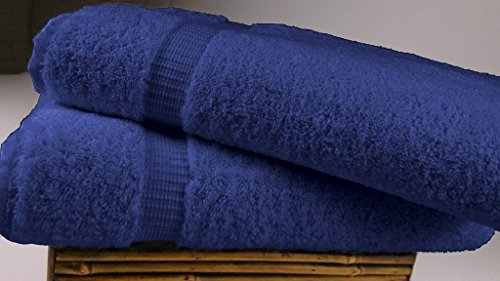 SALBAKOS Luxury Hotel & Spa Turkish Cotton 2-Piece Eco-Friendly Bath Sheet Set 35 x 70 Inch, Navy