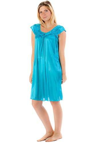 (Casual Nights Women's Satin Nightgown Embroidered Lace Cap Sleeve - Aqua -)