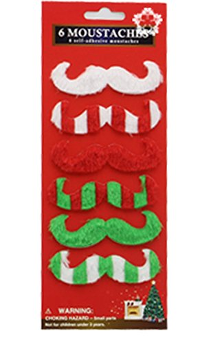 [Fake Beard and Mustache Christmas Party Supplies,Set of 6 (3)] (Fake Beards That Look Real)