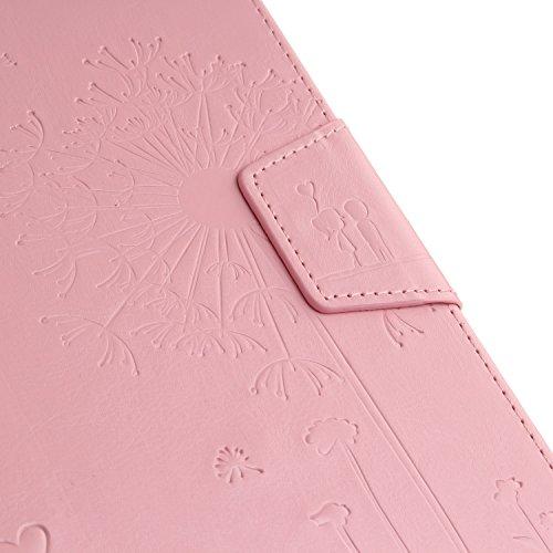 JIALUN-Personality teléfono shell Diente de león en relieve de la cubierta de la caja Funda de folio en color sólido Maganetic PU Funda de cuero para Samsung Tab E 8.0 pulgadas T375 T377 Seguridad y M Pink