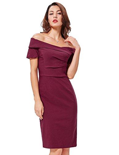 manica retro Belle abito 2 BP0158 spalla Vino con rosso hip stampa pacchetto di fuori scollo Poque signore V corta BP0117 dell'annata tessuto a dalla p7rE7wq