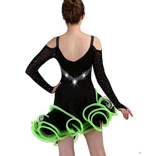 Professionale Pezzo Green Scena Ballo Latino Competizione Vestito Xxl Di Da Un Gonna Donne Wqwlf Moda xxl Le Costume Rumba Backless qn6w7a