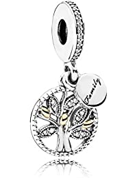 Women's Bead Pendant Silver and Gold 791728CZ Female Family Tree zircons, Silver